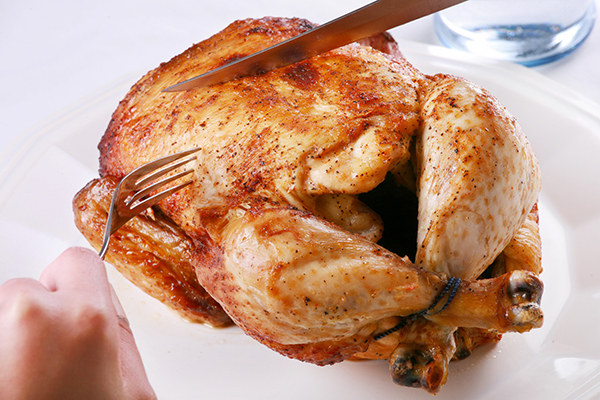Carving Rotisserie chicken